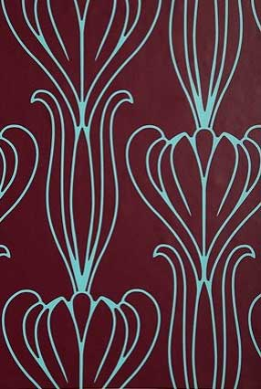 Bella Wall Paper - Plum and Turquoise, $78.