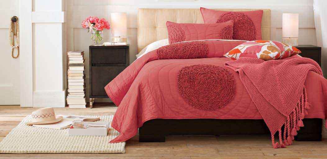 Ruffled Circles Quilt & Shams (also available in gray), $109-$149/quilt