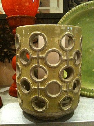 Green ceramic hurricane with holes, $55.