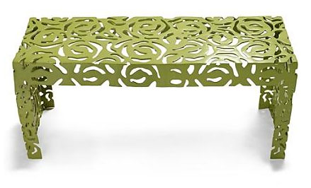 Susie Coelho's cast aluminum modern rose bench in green, $299.