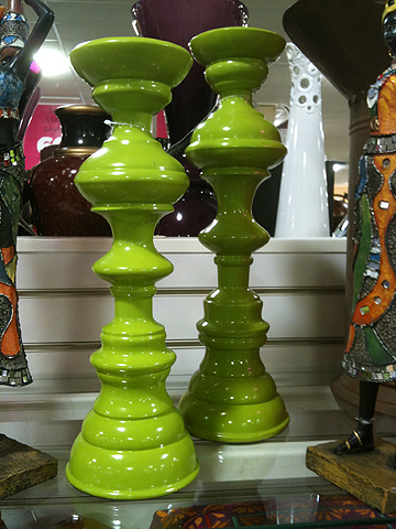 Lime green candlesticks, $9.99 & $12.99.