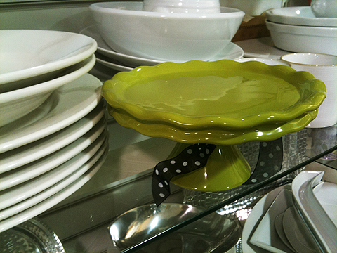 Lime green mini cake stand, $7.99.