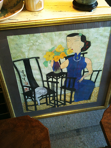 Japanese Woman with Cat, $195.