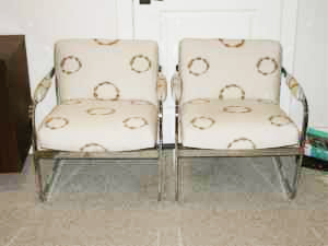 Newly reupholstered retro chairs, $400/pair.