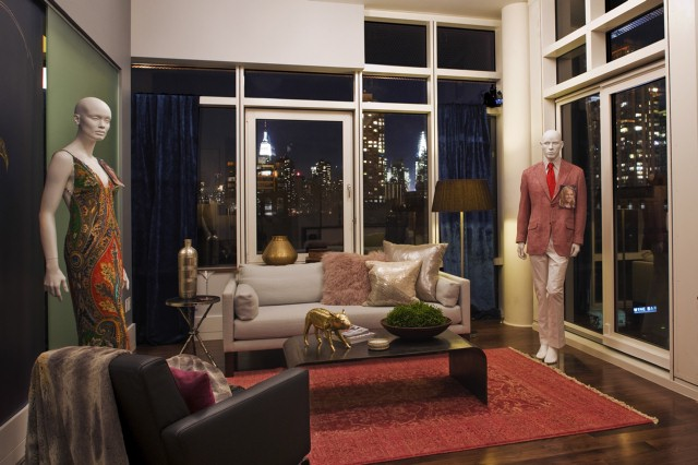 This living room inspired by fashion is designed by Nina Ferrer and Emily Henderson.