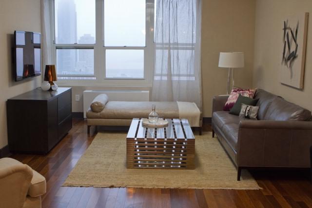 The Blue Team's tasteful living room.