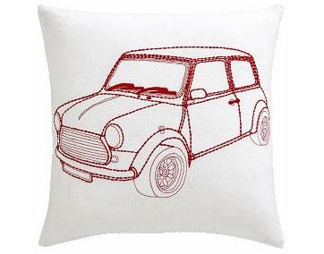 "Beep Beep 16"" pillow, $29.95."