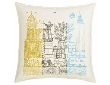 "NY Folk 18"" pillow, $24.95."