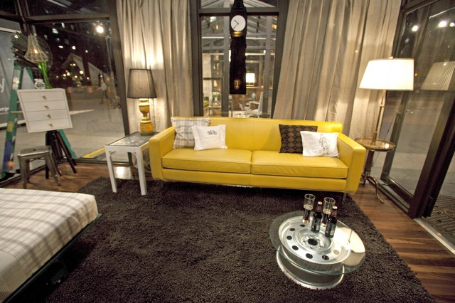Michael's canary (sofa) in a sunroom.
