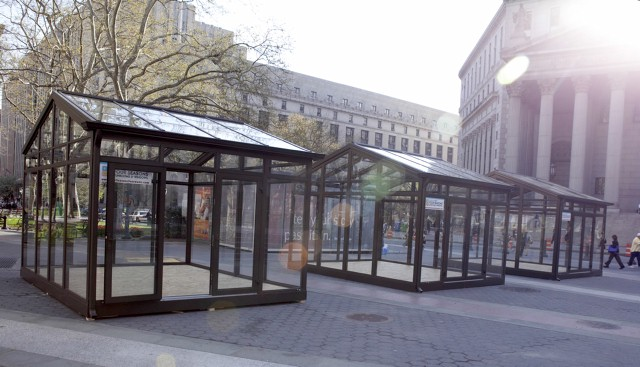 BEFORE: Three sunrooms stand vacant in New York City's Foley Square.