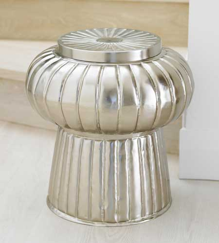 Moroccan fluted metal stool, $219 (reg. $249).