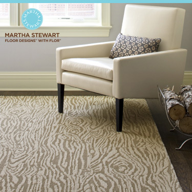 Martha Stewart's Faux Bois FLOR tiles in Bisque/Reed.