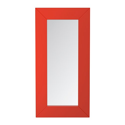 "The oversized MONGSTAD mirror (W37"" x H74.75"") comes in bright orange or white."