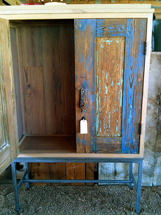 Armoire made from antique Mexican doors and reclaimed long leaf pine.