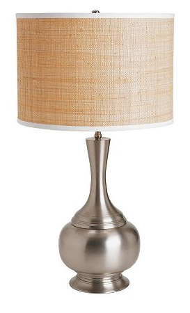 Baker Lamp with Raffia Drum Shade, $135.