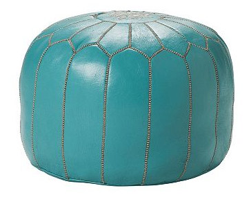Turquoise Moroccan Leather Pouf, $395.