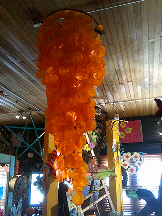 Capiz shell hanging in vibrant orange! $89 or $99, can't remember.  Saw it at Texas Trash & Treasures, in Carmine (see below).