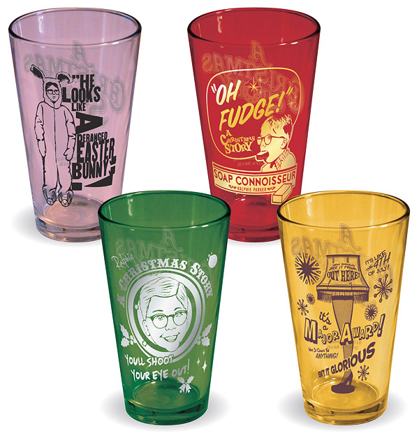 A Christmas Story Glasses, set of 4 for $39.95.