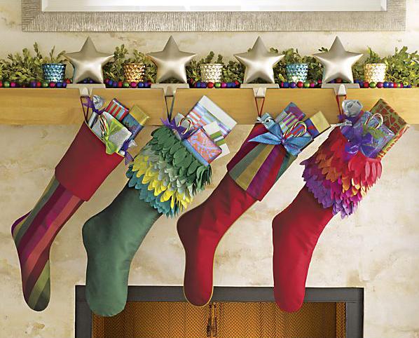Stockings, from left: Jewel Stripe, Fiona Green, Jewel Ruby, Fiona Red. ($19.95-$24.95)