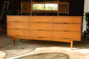 Mid-century walnut dresser, $350.