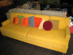 Superfun mid-century sofa, $400, negotiable.