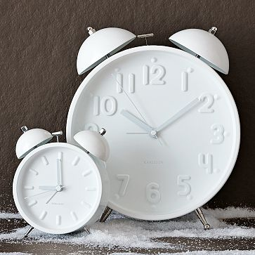 Ceramic White Alarm Clocks, $34-$69.