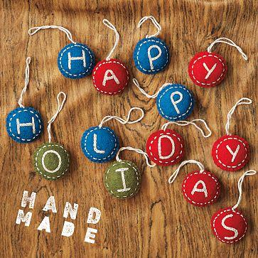Felt Letter Ornaments, $3.