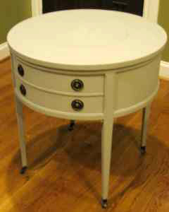 Round white side table, $135.