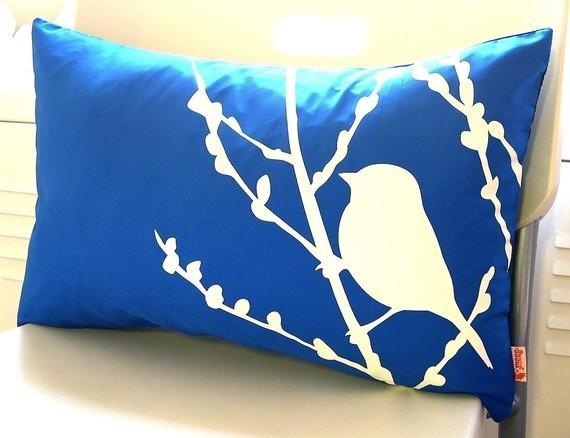Cobalt Blue Bird on Cherry Blossom Pillow, by Joom.  $28.