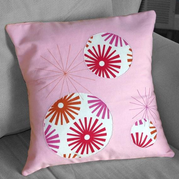 Bubblegum appliqued pillow, by TiLT Creations. $30.