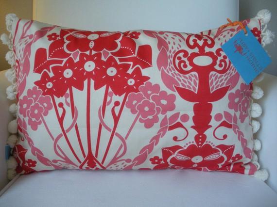 Pom-Pom Fringe Nouveau Bouquet pillow cover, $20.