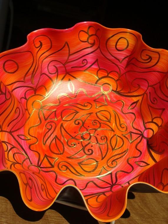 Swirly Orange & Pink Mandala Record Bowl, by Eye Pop Art. $58.