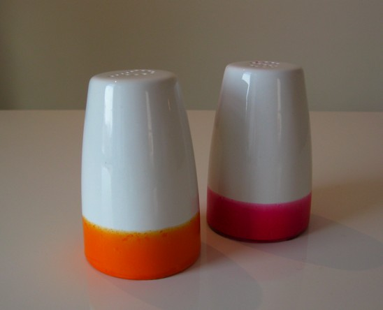 Pink and orange dipped salt & pepper shakers, by Tilly Maison. $18/set.