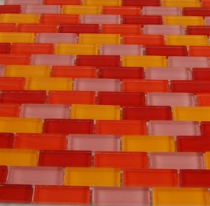 Loft Sushi 1/2x2 glass tile in brick formation, from Glass Tile Store. $14.95/sf.