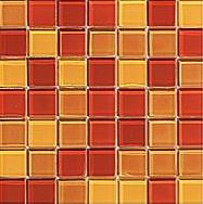 Spa Glass 1x1 mosaic in Cinnabar Blend, by Walker Zanger.