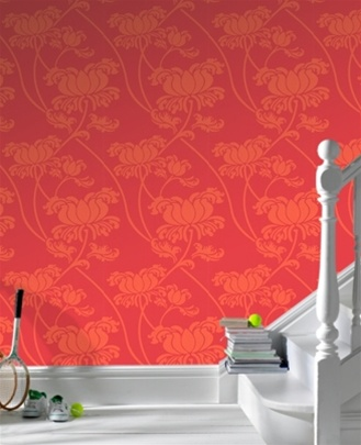 Red and Orange Floral Trail Alice wallpaper, by Graham & Brown. $75/double roll at Burke Decor.