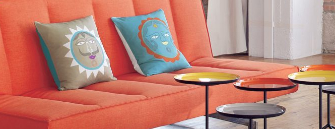 Lady Moon and Mr. Sun Pillows, $39.95/ea.