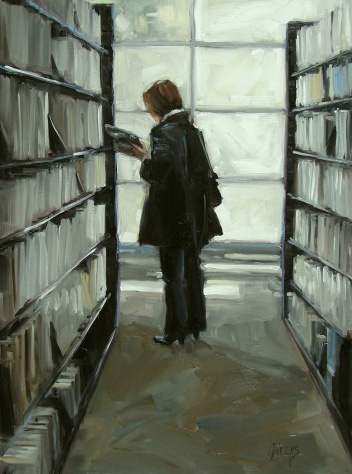Judging a Book, 16x12 oil on panel.  Sold.