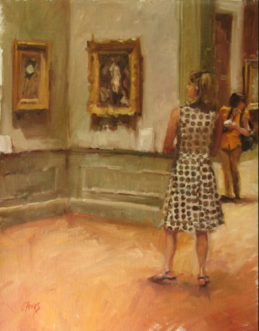 Touring the Met, 18x14 oil on linen.