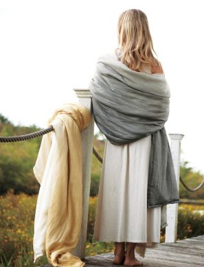Eileen Fisher Dip-Dyed Silk Throw in Truffle Gray, $178