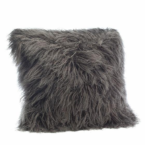 "Mongolian Lamb Pillow Cover, 24"" square, in Platinum. $129."