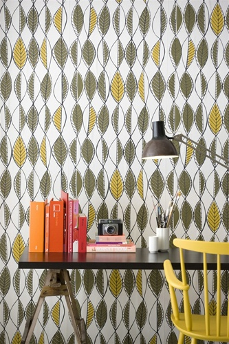 Retro Leaves Wallpaper by Fern Living, $126.