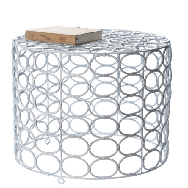 White Oval Ring Side Table, $334.