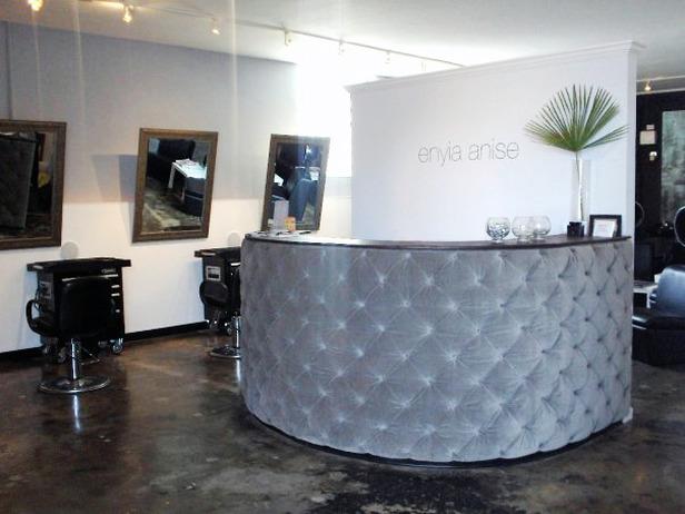 Salon reception desk designed by Doug Hines.