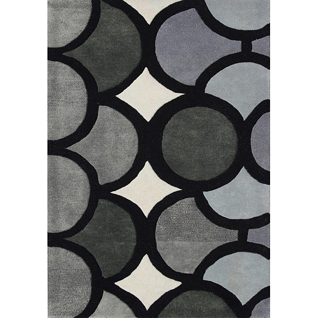Hand-tufted Metro Circles Grey Wool Rug (8' x 10'), $349.99.