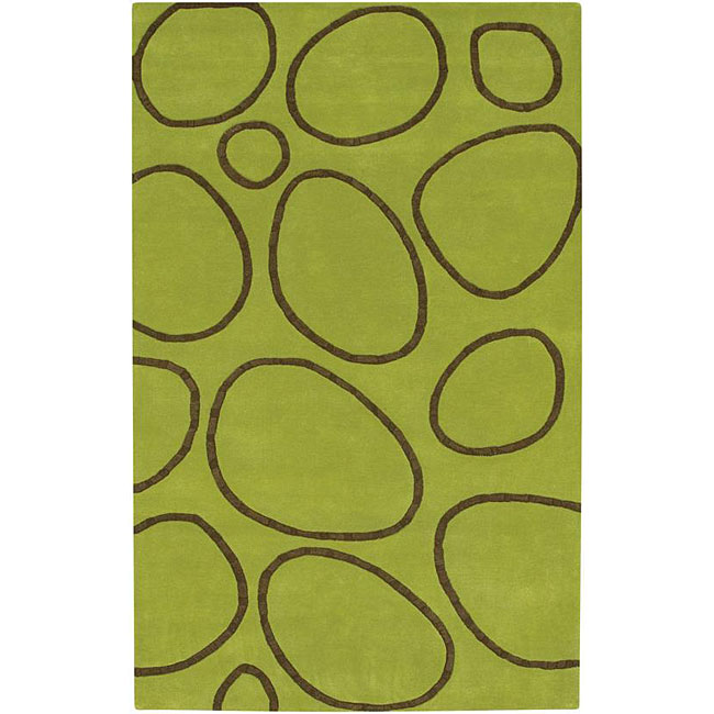Hand-tufted 'Modern Rock' Green Geometric Wool Rug (8' x 10'), $321.99.