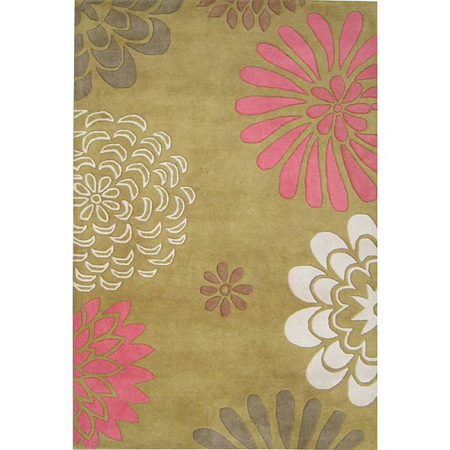 Hand-tufted Giant Flowers Green Wool Rug (8' x 10'), $364.99.