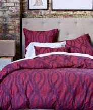 Organic Painted Swirl Duvet Cover + Sham in raspberry, $24-109.