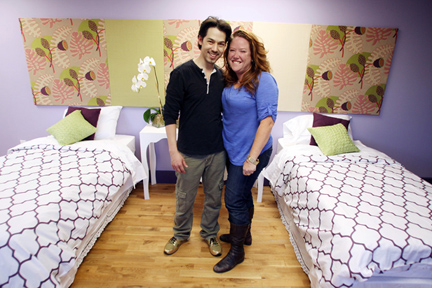 AFTER: Tyler Wisler and Meg Caswell post-bedroom makeover.