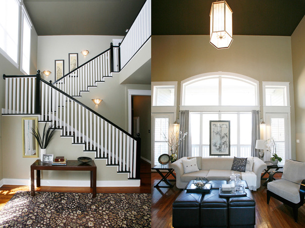 Stairwell and living room designed by Leslie Ezelle.